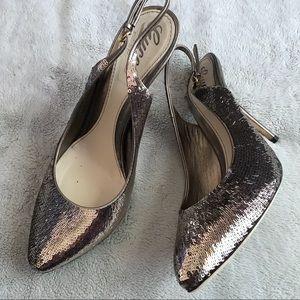Gucci Sequin Slingback Heels Pumps Silver Gold